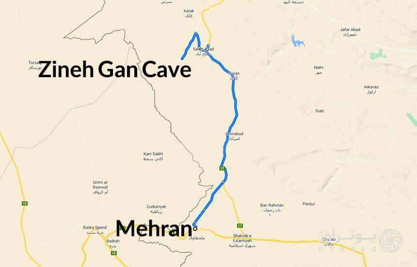 Zineh Gan Cave route